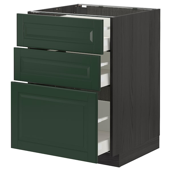 METOD / MAXIMERA Base cabinet with 3 drawers, black/Bodbyn dark green, 60x60 cm