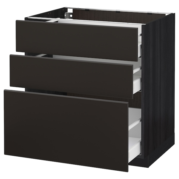 METOD / MAXIMERA Base cabinet with 3 drawers, black/Kungsbacka anthracite, 80x60 cm