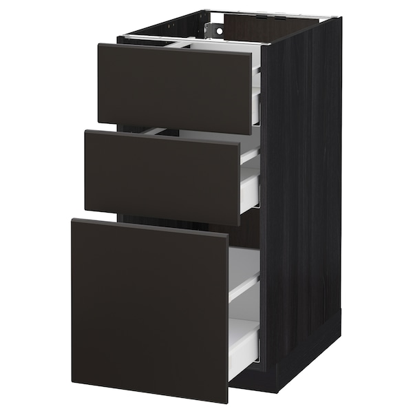 METOD / MAXIMERA Base cabinet with 3 drawers, black/Kungsbacka anthracite, 40x60 cm