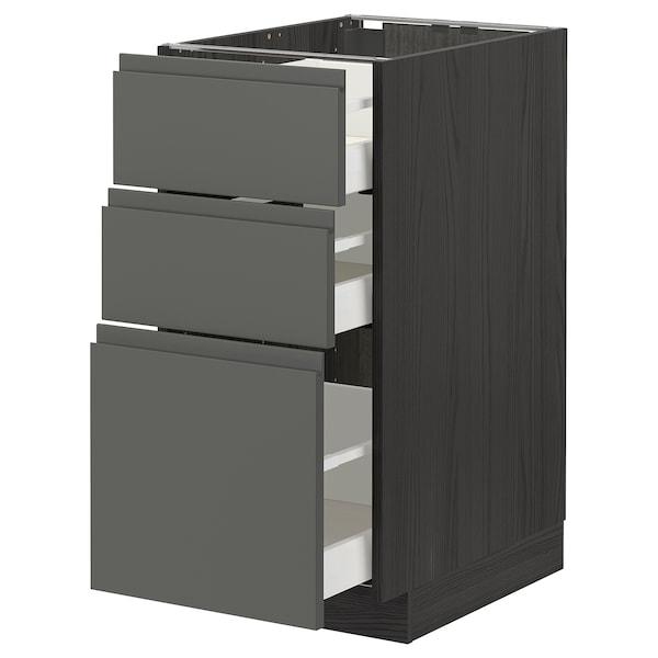METOD / MAXIMERA Base cabinet with 3 drawers, black/Voxtorp dark grey, 40x60 cm