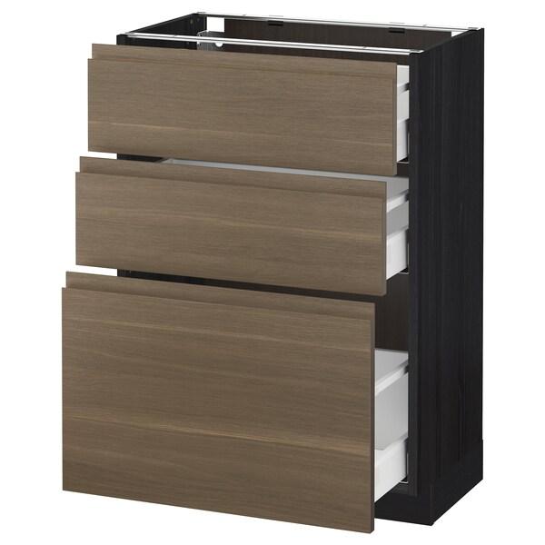 METOD / MAXIMERA Base cabinet with 3 drawers, black/Voxtorp walnut, 60x37 cm