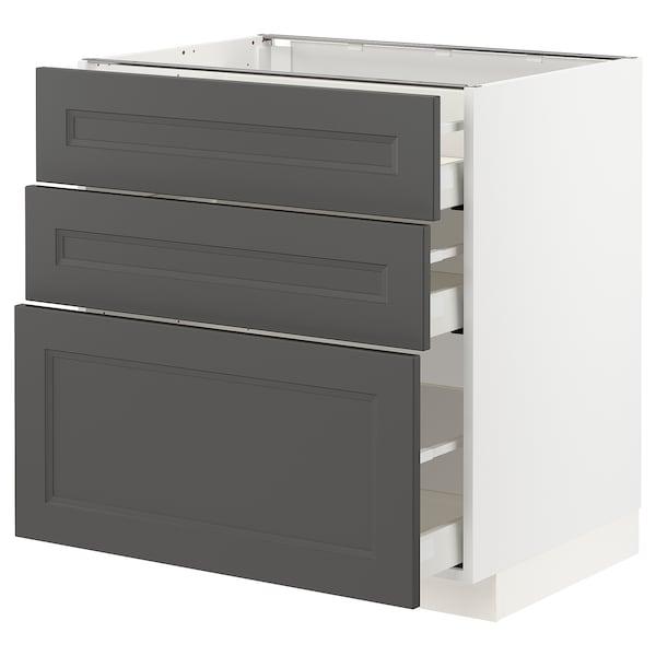 METOD / MAXIMERA Base cabinet with 3 drawers, white/Axstad dark grey, 80x60 cm