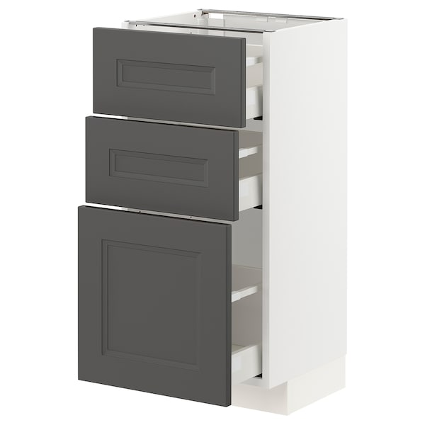 METOD / MAXIMERA Base cabinet with 3 drawers, white/Axstad dark grey, 40x37 cm