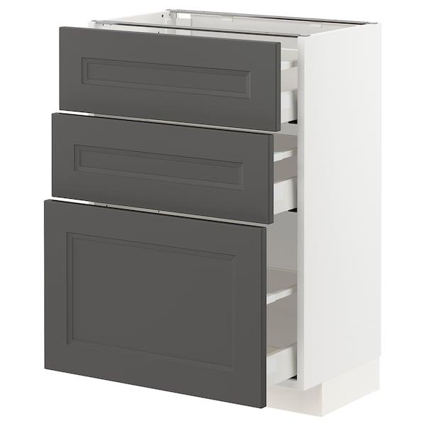 METOD / MAXIMERA Base cabinet with 3 drawers, white/Axstad dark grey, 60x37 cm