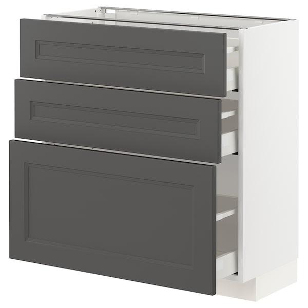 METOD / MAXIMERA Base cabinet with 3 drawers, white/Axstad dark grey, 80x37 cm