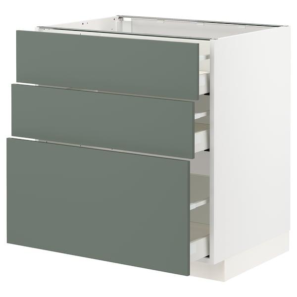 METOD / MAXIMERA Base cabinet with 3 drawers, white/Bodarp grey-green, 80x60 cm