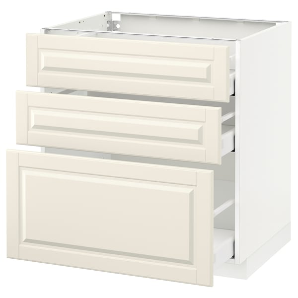 METOD / MAXIMERA Base cabinet with 3 drawers, white/Bodbyn off-white, 80x60 cm