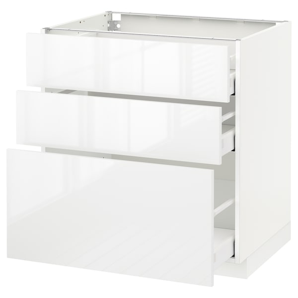 METOD / MAXIMERA Base cabinet with 3 drawers, white/Ringhult white, 80x60 cm