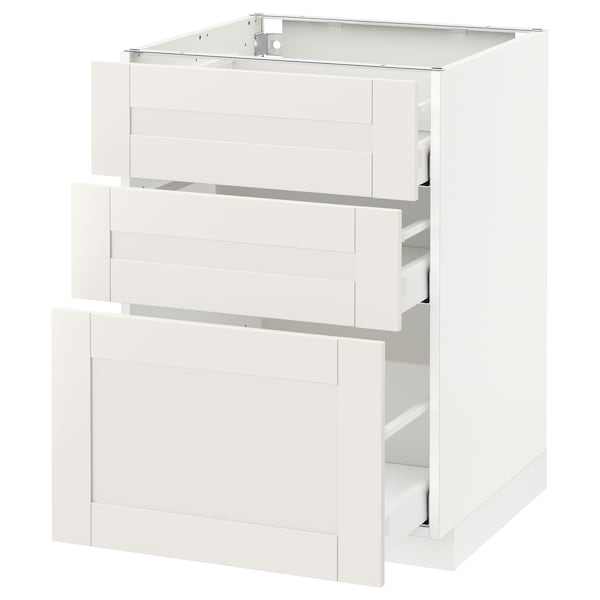 METOD / MAXIMERA Base cabinet with 3 drawers, white/Sävedal white, 60x60 cm