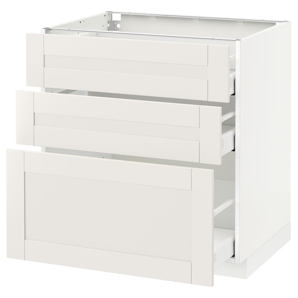 METOD / MAXIMERA Base cabinet with 3 drawers, white/Sävedal white, 80x60 cm