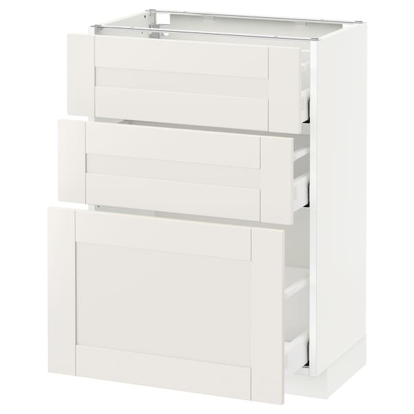METOD / MAXIMERA Base cabinet with 3 drawers, white/Sävedal white, 60x37 cm