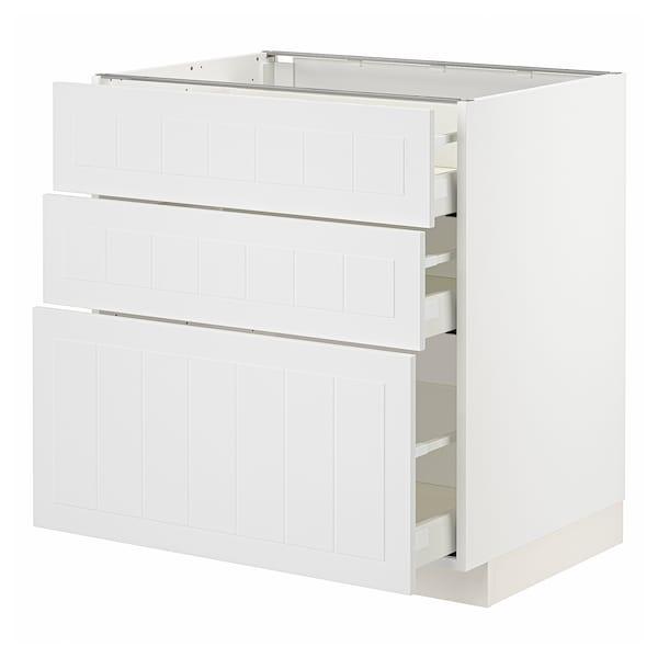 METOD / MAXIMERA Base cabinet with 3 drawers, white/Stensund white, 80x60 cm