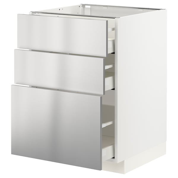 METOD / MAXIMERA Base cabinet with 3 drawers, white/Vårsta stainless steel, 60x60 cm