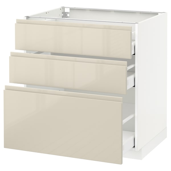 METOD / MAXIMERA Base cabinet with 3 drawers, white/Voxtorp high-gloss light beige, 80x60 cm