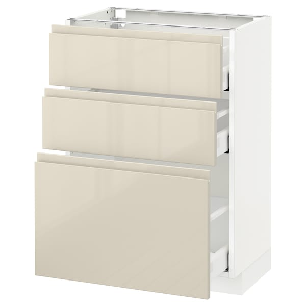 METOD / MAXIMERA Base cabinet with 3 drawers, white/Voxtorp high-gloss light beige, 60x37 cm