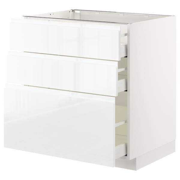 METOD / MAXIMERA Base cabinet with 3 drawers, white/Voxtorp high-gloss/white, 80x60 cm