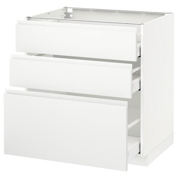 METOD / MAXIMERA Base cabinet with 3 drawers, white/Voxtorp matt white, 80x60 cm