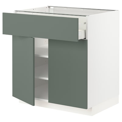 METOD / MAXIMERA Base cabinet with drawer/2 doors, white/Bodarp grey-green, 80x60 cm