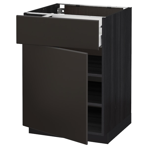 METOD / MAXIMERA base cabinet with drawer/door black/Kungsbacka anthracite 60.0 cm 61.6 cm 88.0 cm 60.0 cm 80.0 cm