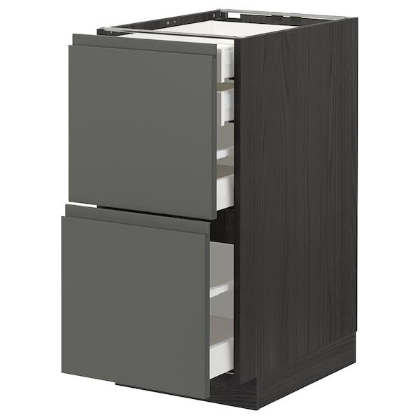 METOD / MAXIMERA Base cb 2 frnts/2 low/1 md/1 hi drw, black/Voxtorp dark grey, 40x60 cm