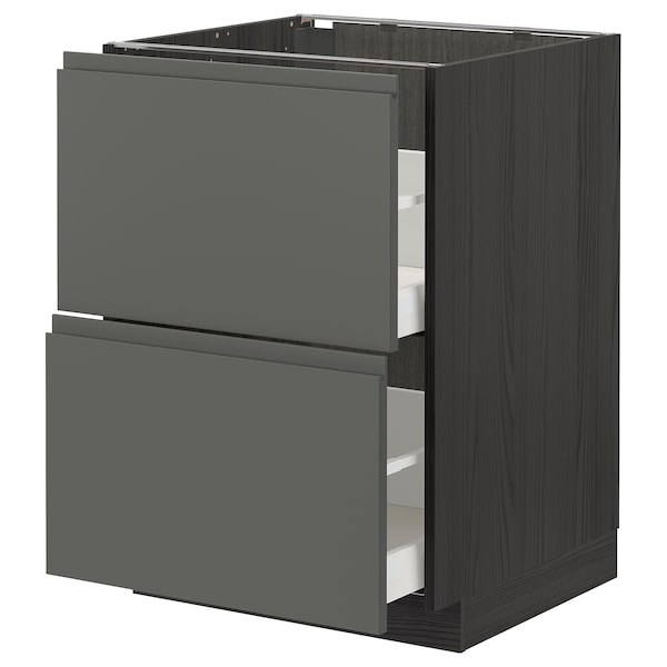 METOD / MAXIMERA Base cb 2 fronts/2 high drawers, black/Voxtorp dark grey, 60x60 cm