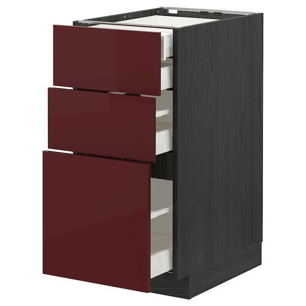 METOD / MAXIMERA Base cb 3 frnts/2 low/1 md/1 hi drw, black Kallarp/high-gloss dark red-brown, 40x60 cm