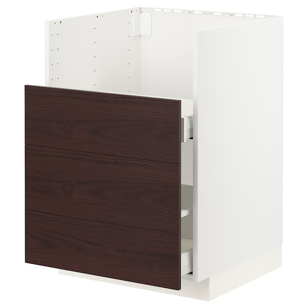 METOD / MAXIMERA Bc f BREDSJÖN sink/2 fronts/2 drws, white Askersund/dark brown ash effect, 60x60 cm