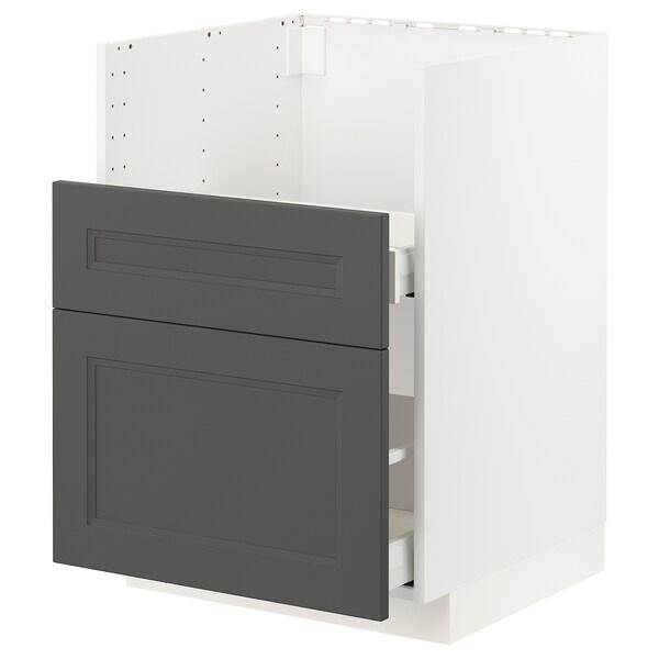 METOD / MAXIMERA Bc f BREDSJÖN sink/2 fronts/2 drws, white/Axstad dark grey, 60x60 cm