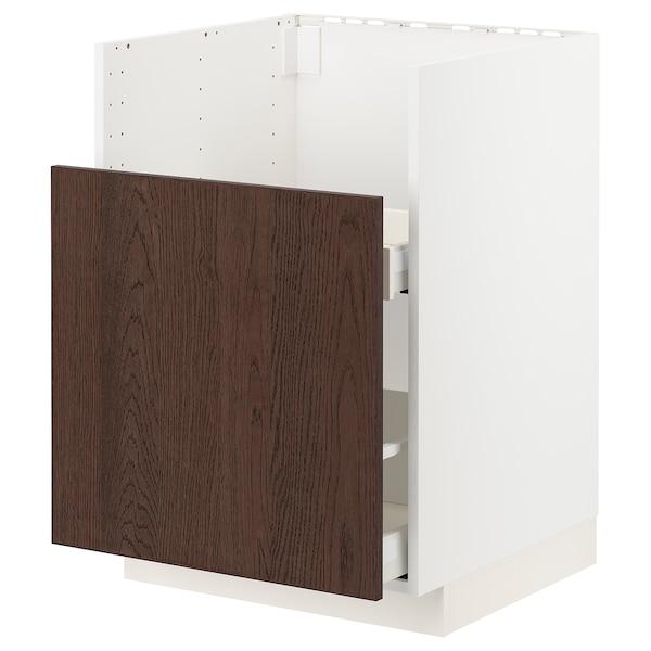 METOD / MAXIMERA Bc f BREDSJÖN snk/1 frnt/2 drws, white/Sinarp brown, 60x60 cm