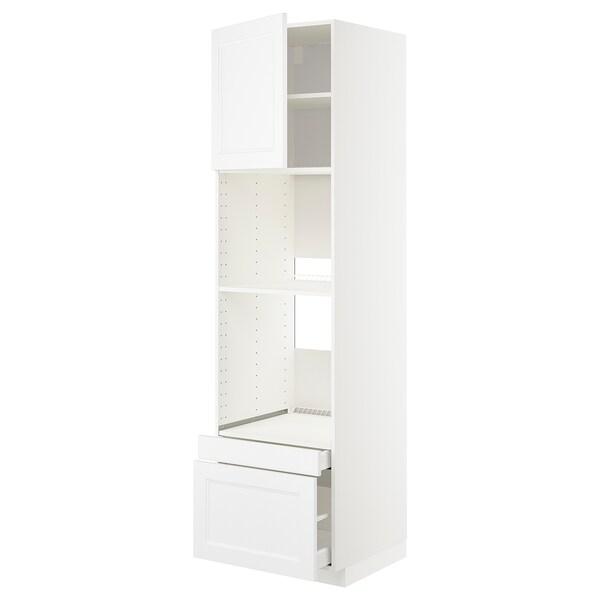 METOD / MAXIMERA Hi cab f ov/combi ov w dr/2 drwrs, white/Axstad matt white, 60x60x220 cm