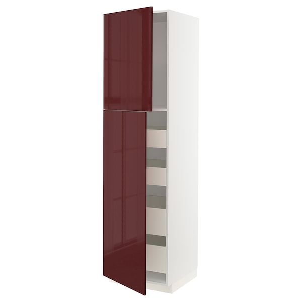 METOD / MAXIMERA Hi cab w 2 doors/4 drawers, white Kallarp/high-gloss dark red-brown, 60x60x220 cm