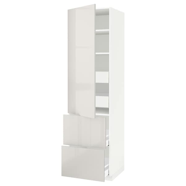 METOD / MAXIMERA hi cab w shlvs/4 drawers/dr/2 frnts white/Ringhult light grey 60.0 cm 61.8 cm 228.0 cm 60.0 cm 220.0 cm