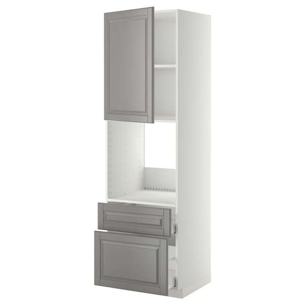 METOD / MAXIMERA high cabinet f oven+door/2 drawers white/Bodbyn grey 60.0 cm 61.9 cm 208.0 cm 60.0 cm 200.0 cm