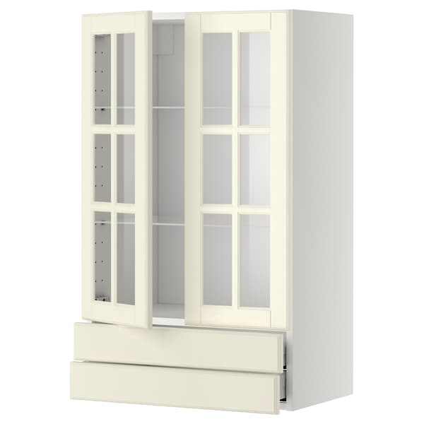METOD / MAXIMERA Wall cab w 2 glass doors/2 drawers, white/Bodbyn off-white, 60x100 cm