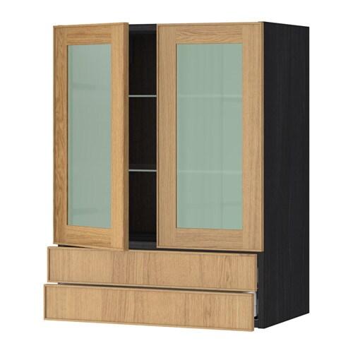 Metod maximera wall cab w 2 glass doors 2 drawers wood for Oak effect kitchen wall units