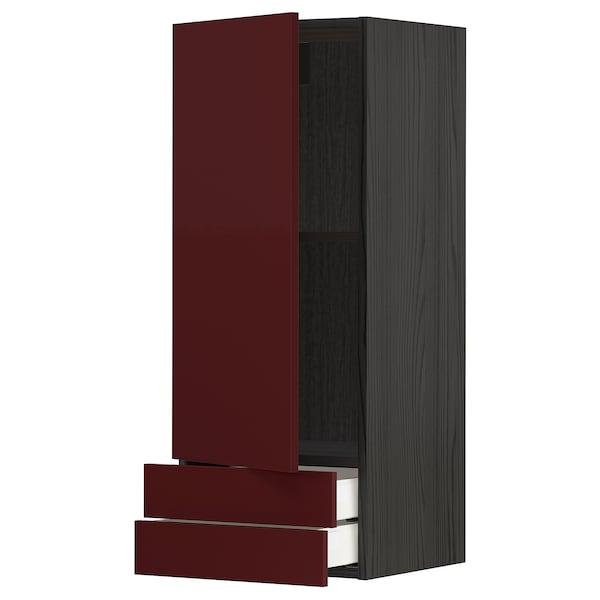METOD / MAXIMERA Wall cabinet with door/2 drawers, black Kallarp/high-gloss dark red-brown, 40x100 cm