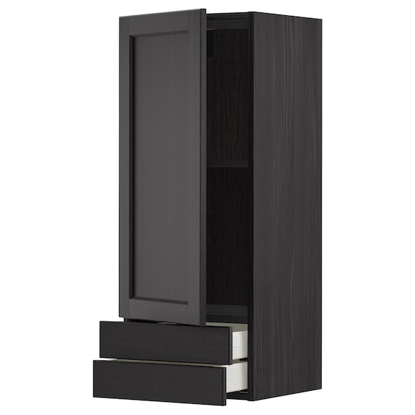 METOD / MAXIMERA Wall cabinet with door/2 drawers, black/Lerhyttan black stained, 40x100 cm