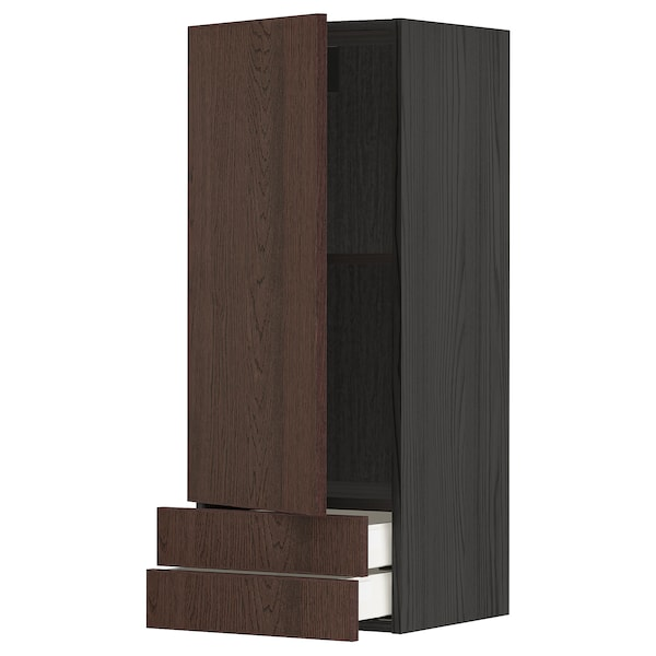 METOD / MAXIMERA Wall cabinet with door/2 drawers, black/Sinarp brown, 40x100 cm