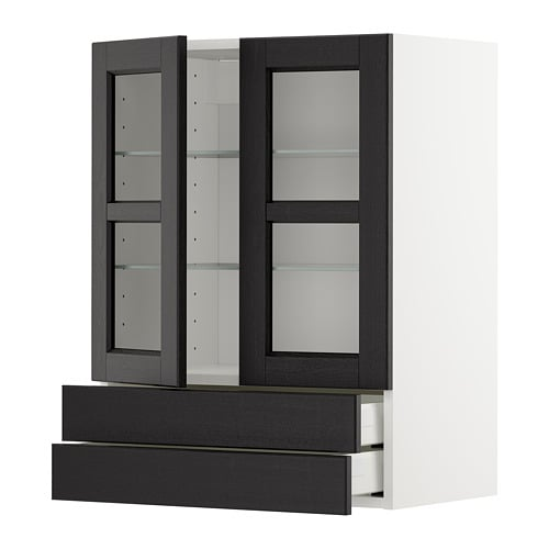 Metod Wall Cab W 2 Glass Doors2 Drawers White Lerh Black Stained
