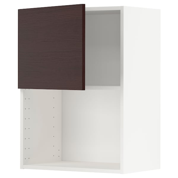 METOD Wall cabinet for microwave oven, white Askersund/dark brown ash effect, 60x80 cm