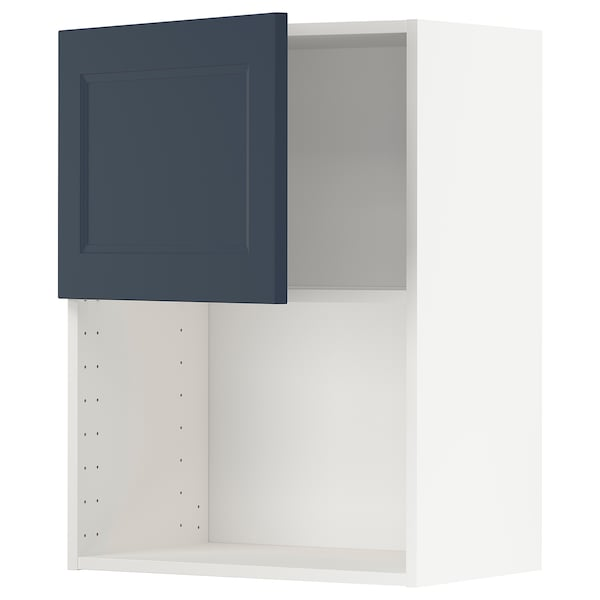 METOD Wall cabinet for microwave oven, white Axstad/matt blue, 60x80 cm