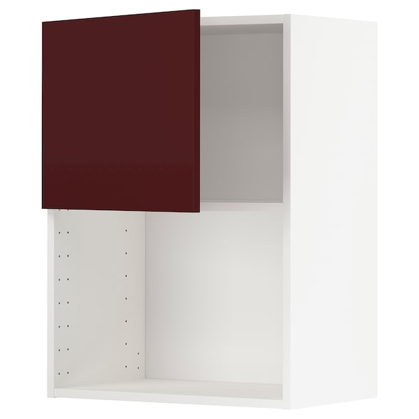 METOD Wall cabinet for microwave oven, white Kallarp/high-gloss dark red-brown, 60x80 cm