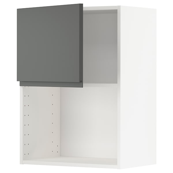 METOD Wall cabinet for microwave oven, white/Voxtorp dark grey, 60x80 cm