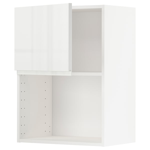 METOD Wall cabinet for microwave oven, white/Voxtorp high-gloss/white, 60x80 cm