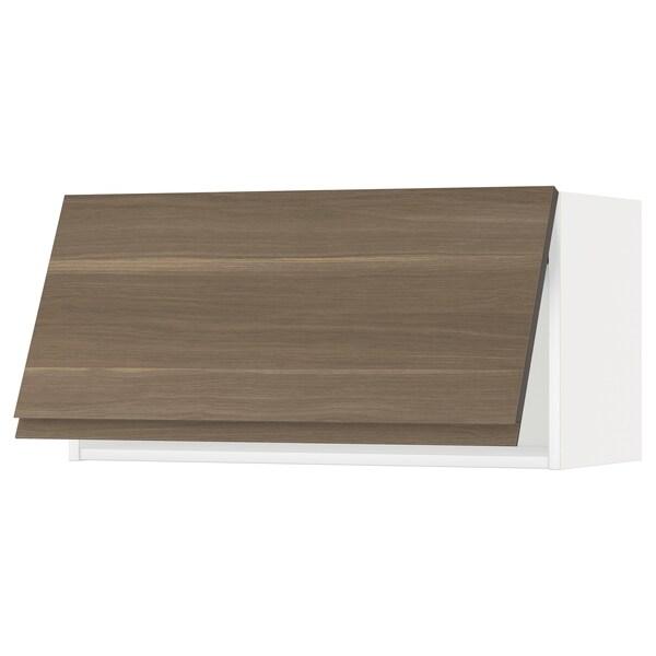 METOD Wall cabinet horizontal w push-open, white/Voxtorp walnut effect, 80x40 cm