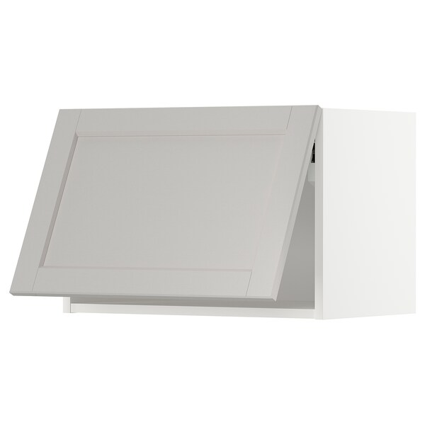 METOD Wall cabinet horizontal, white/Lerhyttan light grey, 60x40 cm