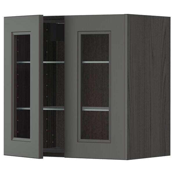 METOD Wall cabinet w shelves/2 glass drs, black/Axstad dark grey, 60x60 cm