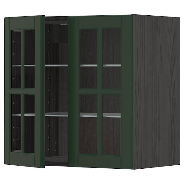 METOD Wall cabinet w shelves/2 glass drs, black/Bodbyn dark green, 60x60 cm