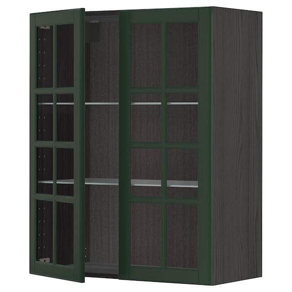 METOD Wall cabinet w shelves/2 glass drs, black/Bodbyn dark green, 80x100 cm