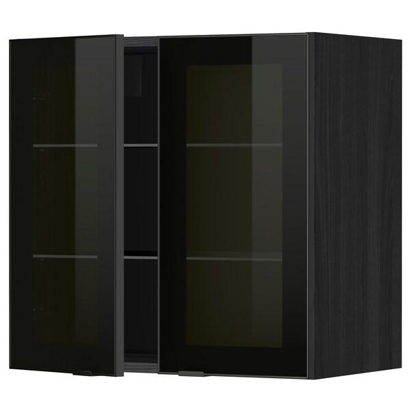 METOD Wall cabinet w shelves/2 glass drs, black/Jutis smoked glass, 60x60 cm